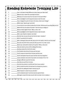Story Response Task Cards and Activities