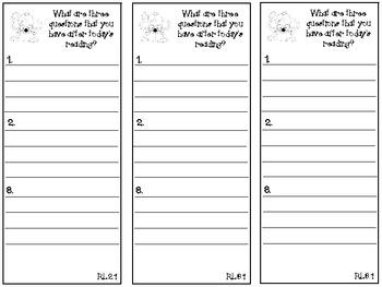 Literature Response Thinkmarks -- Grade 2 Common Core Aligned