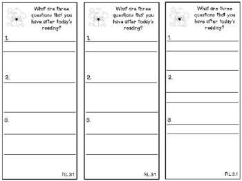 Literature Response Thinkmarks -- Grade 3 Common Core Aligned