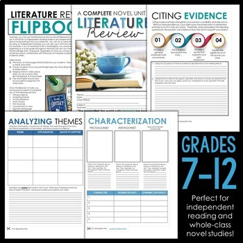 Literature Review Novel Unit Flipbook for ANY Novel: Grades 7-12 EDITABLE
