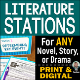 Literature STATIONS- ANY Novel, Drama, Story - Print & Digital Distance Learning
