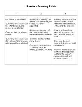 Literature Summary Rubric and Graphic Organizer