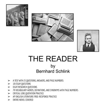Literature: THE READER by Schlink (NOVEL STUDY - FOUR UNITS COMBINED)