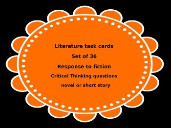 Literature Task Cards Response to Fiction