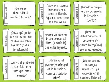 Literature Response Task Cards in Spanish ( Common Core Aligned )