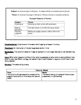 Literature Terms Notes for Middle School