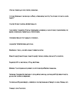 Literature: _The Scarlett Letter_ Vocabulary List