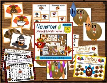 Literacy & Math Centers Bundle: September-November