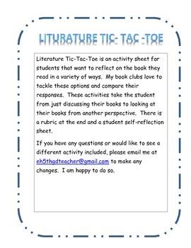 Literature Tic Tac Toe