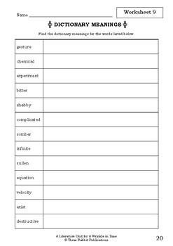 Literature Unit - A WRINKLE IN TIME - Madeleine L'Engle - Novel Study Worksheets