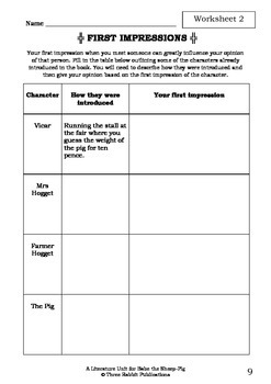 Literature Unit - BABE THE SHEEP - PIG - Dick King-Smith Novel Study Worksheets
