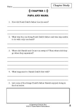 Literature Unit Boy Tales Of Childhood Roald Dahl