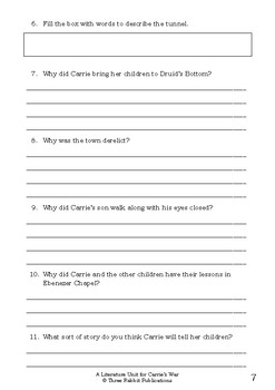 Literature Unit - CARRIE'S WAR - Nina Bawden - Novel Study - Worksheets