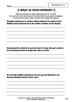 Literature Unit - DIARY OF A WIMPY KID : OLD SCHOOL - Jeff Kinney - Novel Study