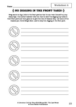 Literature Unit - DIARY OF A WIMPY KID : THE LAST STRAW Jeff Kinney Novel Study