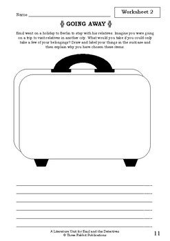 Literature Unit - EMIL AND THE DETECTIVES - Erich Kastner Novel Study Worksheets