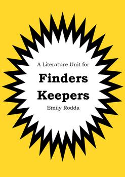 Literature Unit - FINDERS KEEPERS - Emily Rodda - Novel Study - Worksheets