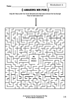Literature Unit - FANTASTIC MR FOX - Roald Dahl - Novel Study - Worksheets
