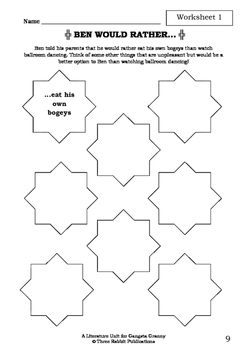 Literature Unit - GANGSTA GRANNY - David Walliams - Novel Study - Worksheets