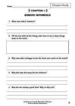 Literature Unit - GIVE PEAS A CHANCE - Morris Gleitzman - Novel Study Worksheets