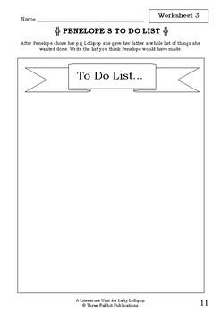 Literature Unit - LADY LOLLIPOP - Dick King-Smith - Novel Study - Worksheets