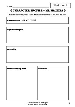 Literature Unit - MR MAJEIKA - Humphrey Carpenter - Novel Study - Worksheets