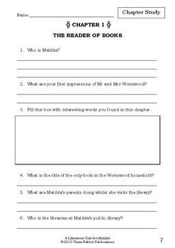 Literature Unit - MATILDA - Roald Dahl - Novel Study - Worksheets