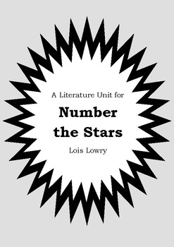 Literature Unit - NUMBER THE STARS - Lois Lowry - Novel Study - Worksheets