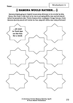 Literature Unit - RAMONA QUIMBY, AGE 8 - Beverly Cleary - Novel Study Worksheets