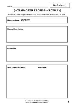 Literature Unit - ROWAN OF RIN - Emily Rodda - Novel Study - Worksheets