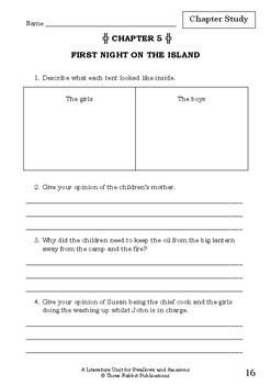 Literature Unit - SWALLOWS AND AMAZONS - Arthur Ransome - Novel Study Worksheets