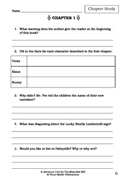 Literature Unit - Series Of Unfortunate Events THE MISERABLE MILL Lemony Snicket