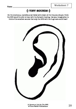 Literature Unit - THE BFG - Roald Dahl - Novel Study - Worksheets