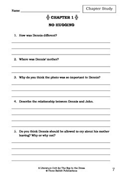 Literature Unit - THE BOY IN THE DRESS - David Walliams - Novel Study Worksheets