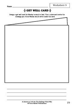 Literature Unit - THE CABBAGE PATCH WAR - Paul Jennings - Novel Study Worksheets