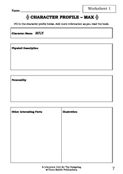Literature Unit - THE HODGEHEG - Dick King-Smith - Novel Study - Worksheets