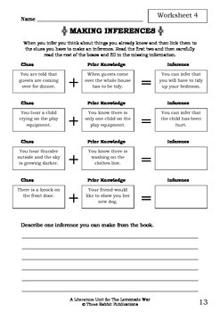 Literature Unit - THE LEMONADE WAR - Jacqueline Davies - Novel Study Worksheets