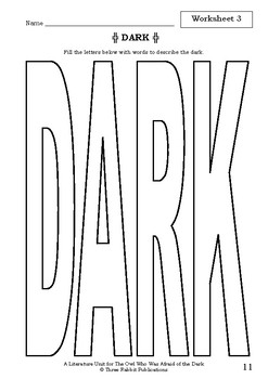 Literature Unit - THE OWL WHO WAS AFRAID OF THE DARK Jill Tomlinson Novel Study