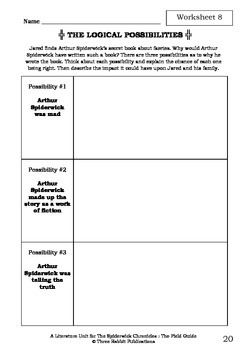 Literature Unit - THE SPIDERWICK CHRONICLES - THE FIELD GUIDE - Novel Study