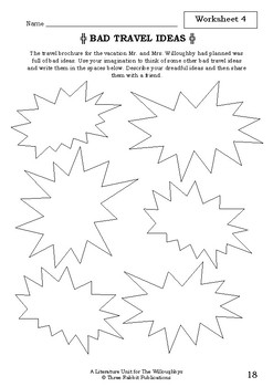 Literature Unit - THE WILLOUGHBYS - Lois Lowry - Novel Study - Worksheets