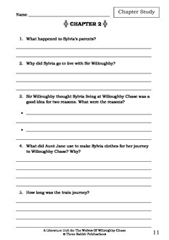 Literature Unit - THE WOLVES OF WILLOUGHBY CHASE - Joan Aiken - Novel Study