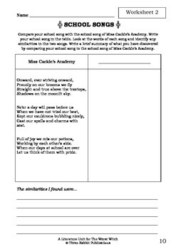 Literature Unit - THE WORST WITCH - Jill Murphy - Novel Study - Worksheets