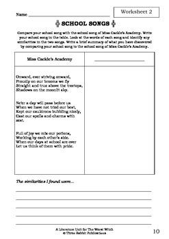 Literature Unit - THE WORST WITCH - Jill Murphy - Novel Study - Worksheets
