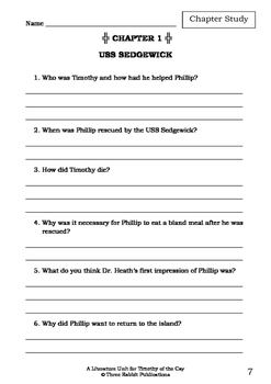 Literature Unit - TIMOTHY OF THE CAY - Theodore Taylor - Novel Study Worksheets