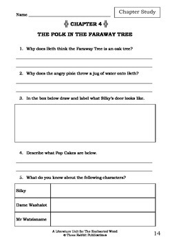 Literature Unit - THE ENCHANTED WOOD - Enid Blyton - Novel Study - Worksheets