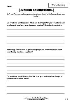 Literature Unit - THE MAGIC FINGER - Roald Dahl - Novel Study Worksheets