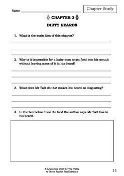 Literature Unit - THE TWITS - Roald Dahl - Novel Study - Worksheets