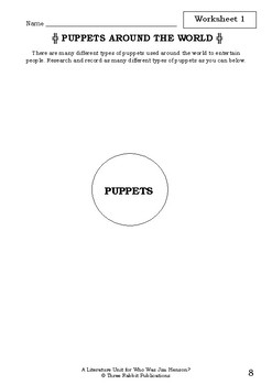 Literature Unit - WHO WAS JIM HENSON? - Joan Holub - Novel Study - Worksheets