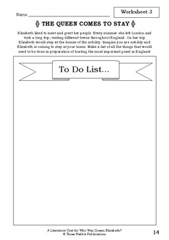 Literature Unit - WHO WAS QUEEN ELIZABETH? - June Eding - Novel Study Worksheets