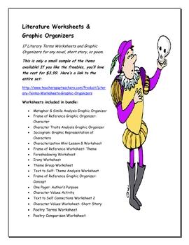 Literature Worksheets & Graphic Organizers Freebie